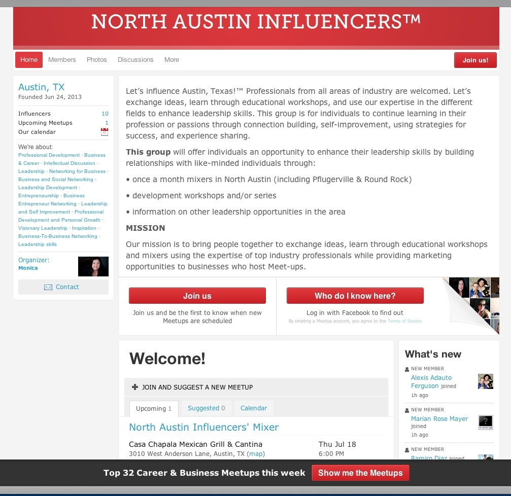 Join North Austin Influencers Meetup today!