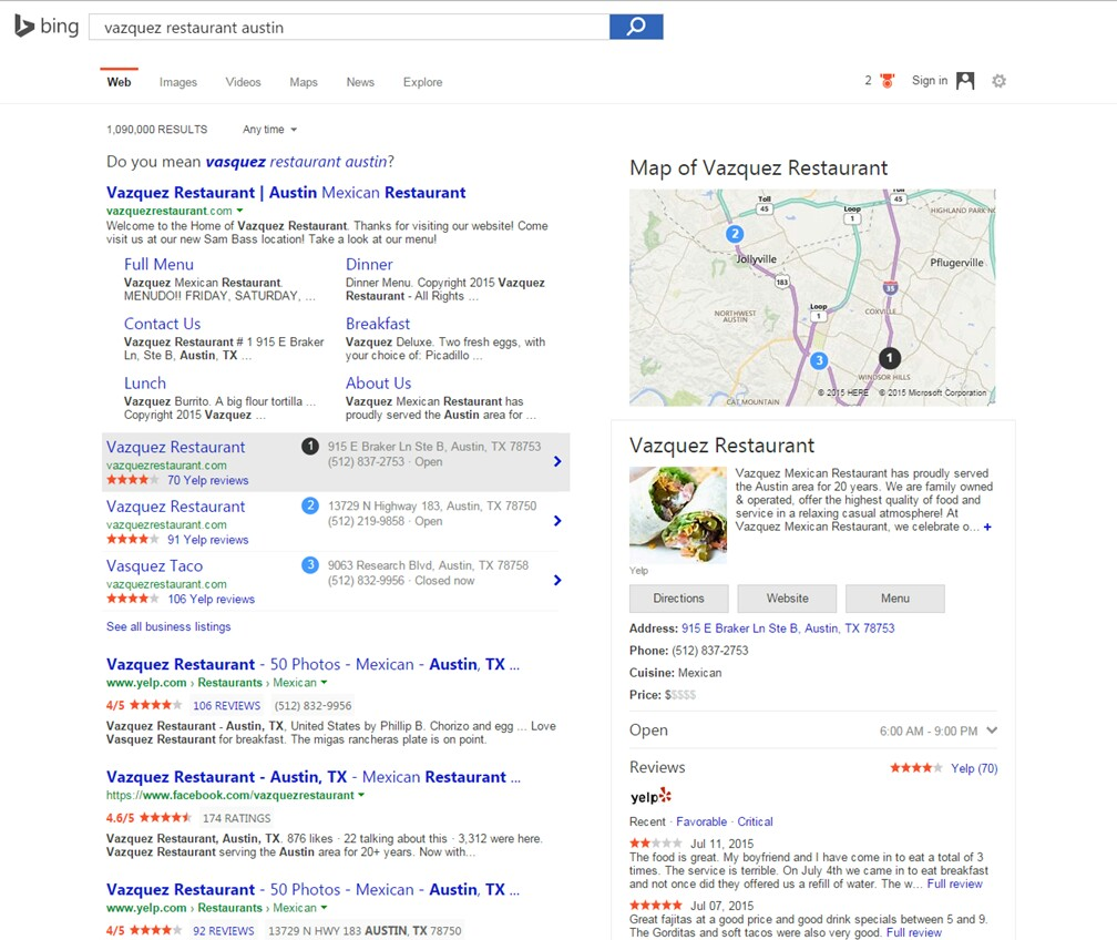 Vazquez Review for Yelp on Bing
