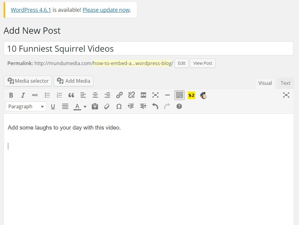 YouTube video to WordPress Blog