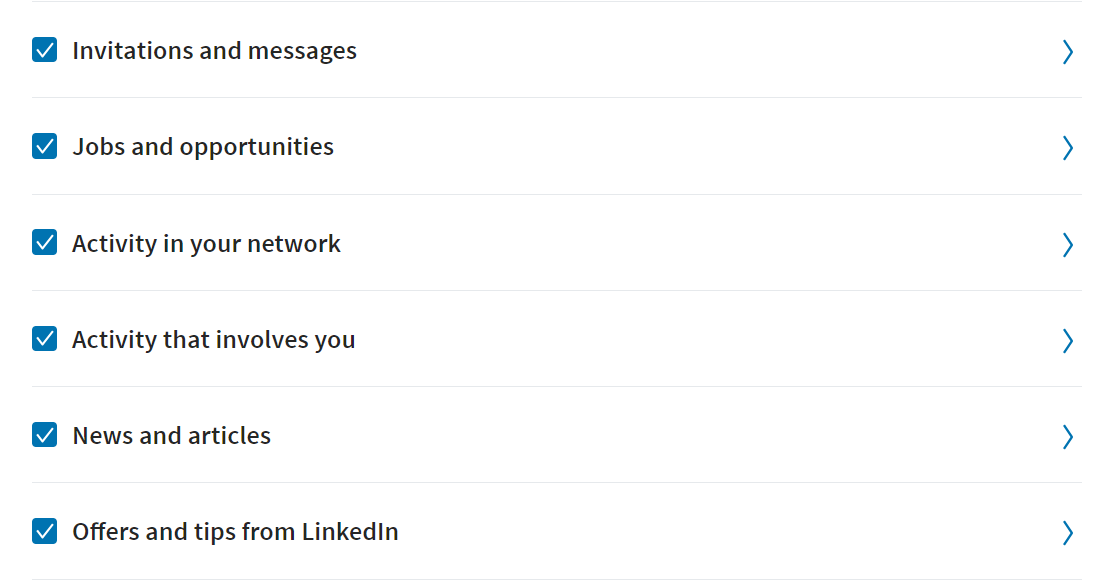 email categories